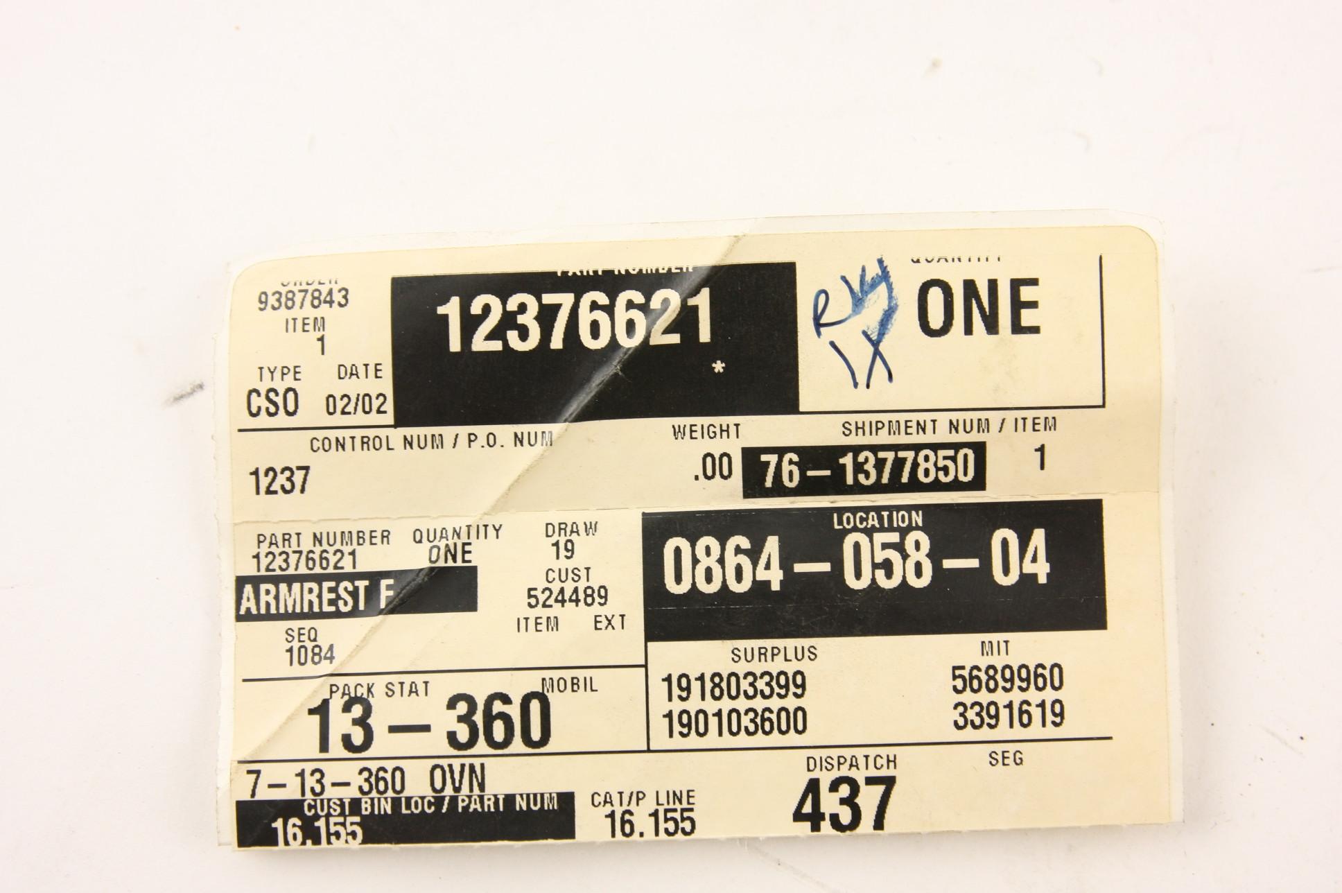 *** New OEM 12376621 GM LH Door Panel Armrest Tan 96-02 Chevy Express GMC Savana - image 2