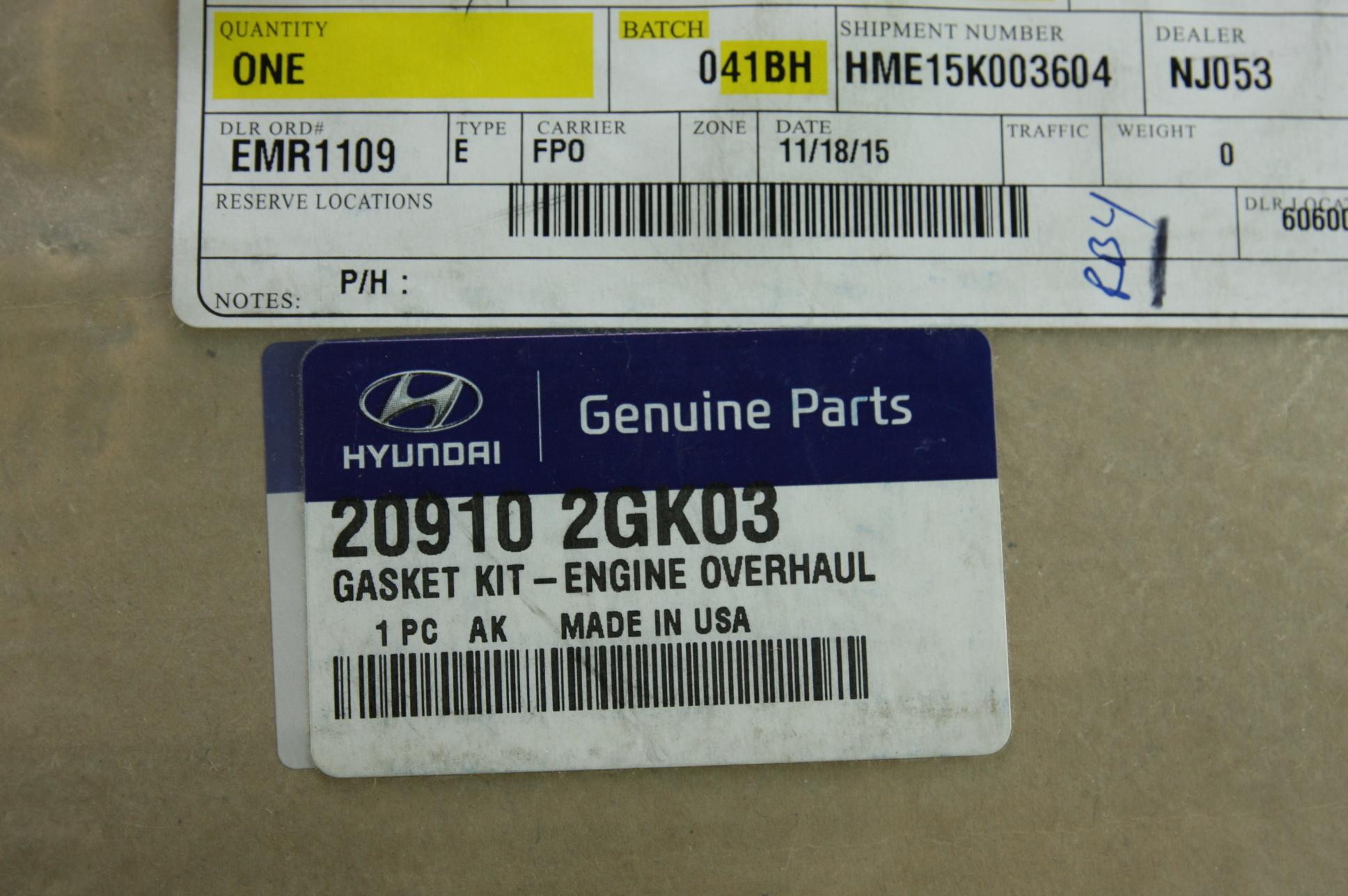 ** New Genuine Hyundai 209102GK03 Full Engine Overhaul Gasket Set Free Shipping - image 2