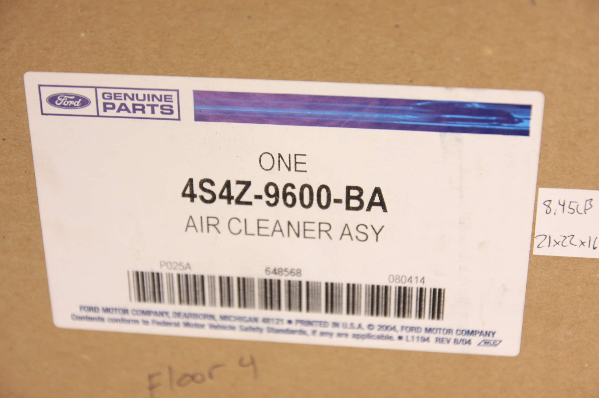 New OEM 4S4Z9600BA Genuine Ford Air Cleaner Assembly Free Shipping NIP - image 2