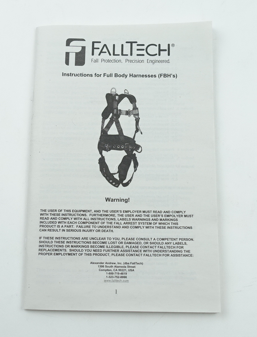 FallTech Fall Safety Harness L/XL Non-Belted Back D-Ring Tongue Buckle Legs - image 4