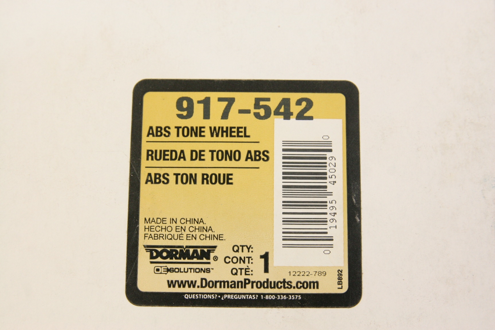 ** Dorman 917-542 ABS Ring Front Left Right 94-00 Honda Accord 95-98 Acura TL