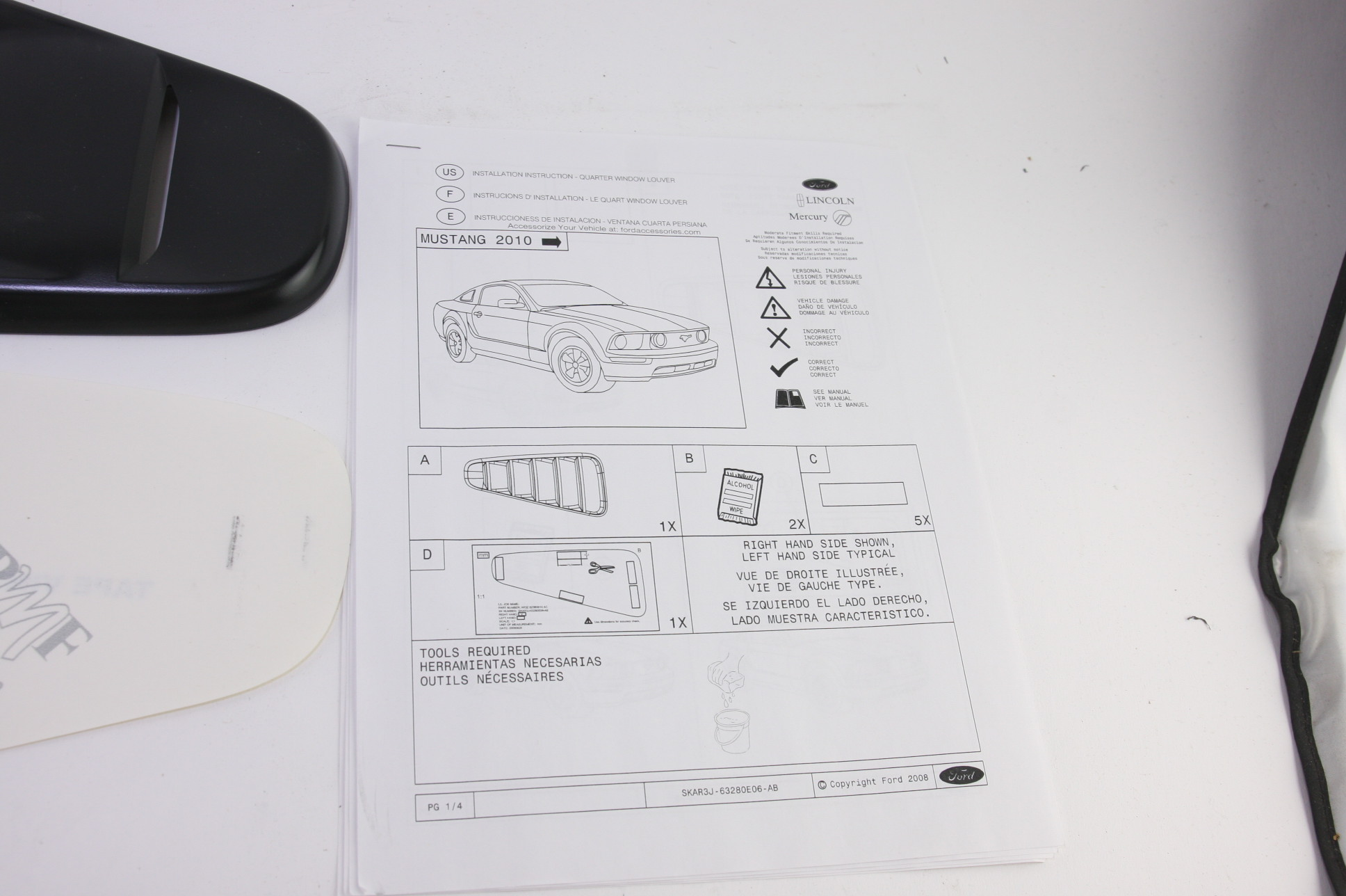 *** New OEM AR3Z63280B10AA 10-14 Mustang Louver Vent Right Primer Free Shipping - image 7