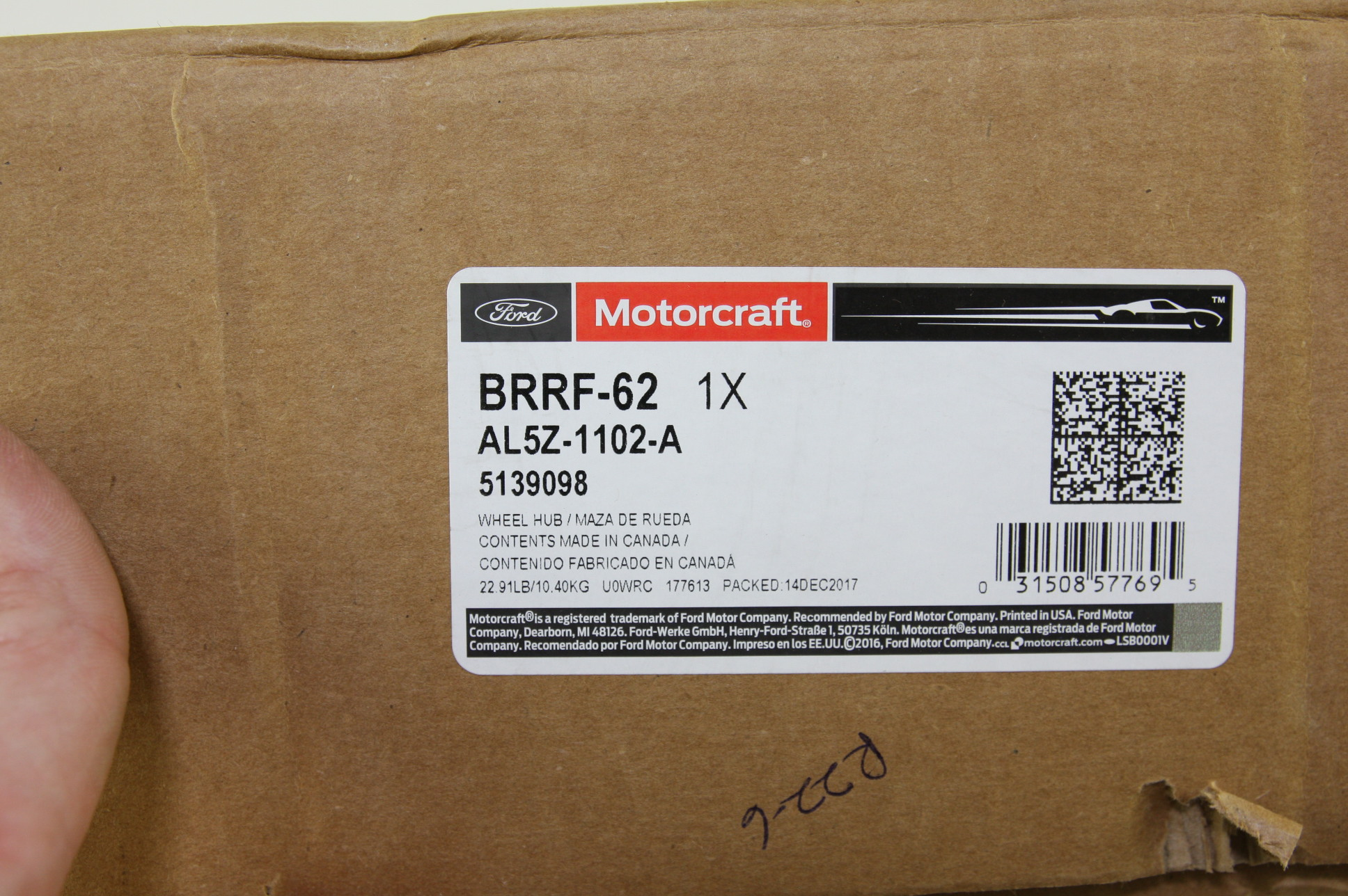 *** New OEM Motorcraft BRRF62 Ford AL5Z1102A Front Disc Brake Rotor Hub Assembly - image 2