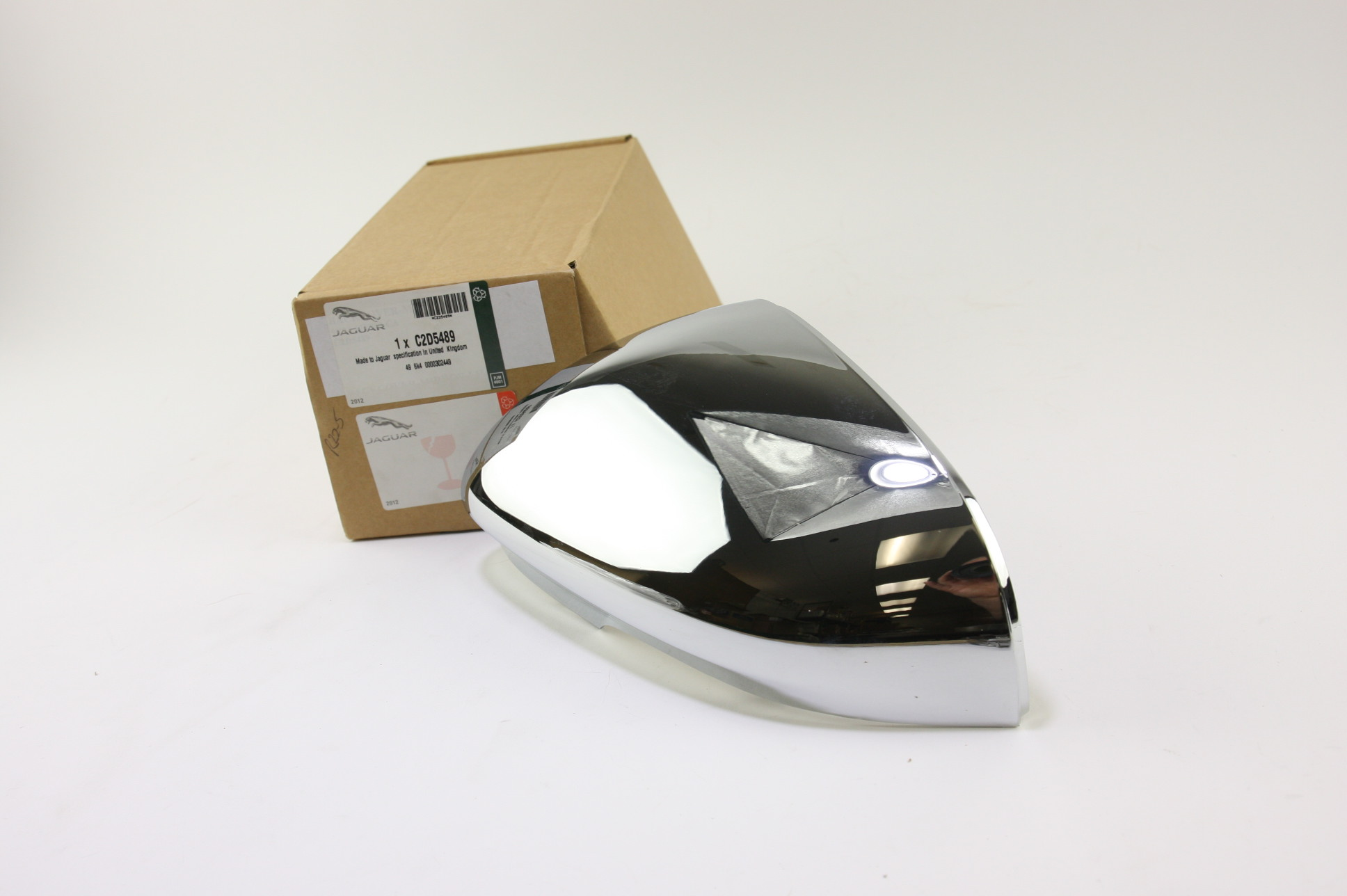 * New OEM C2D5489 Genuine Jaguar Driver Left Side Door Mirror Back Cover Chrome - image 1