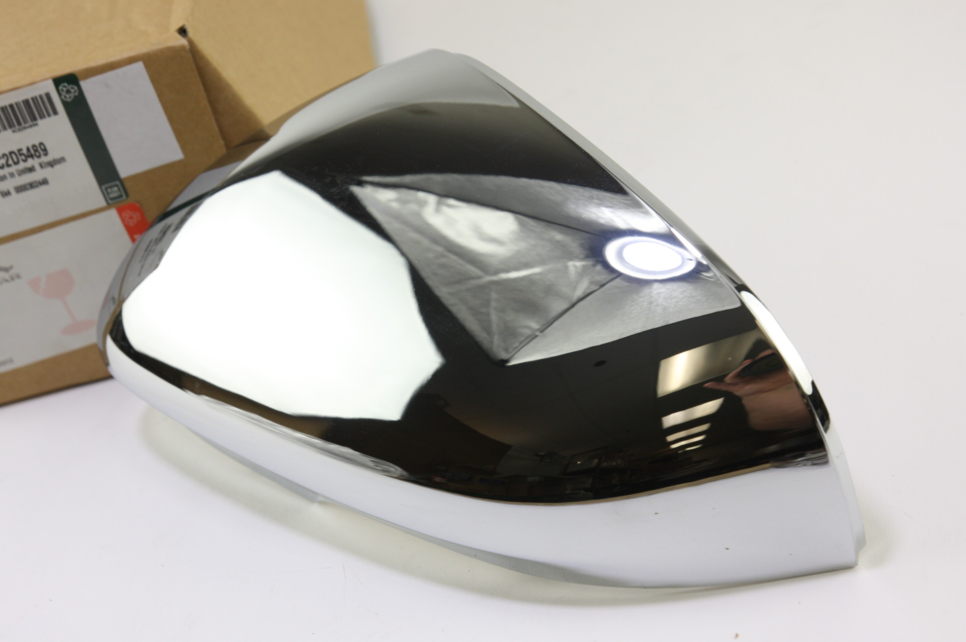 * New OEM C2D5489 Genuine Jaguar Driver Left Side Door Mirror Back Cover Chrome - image 3