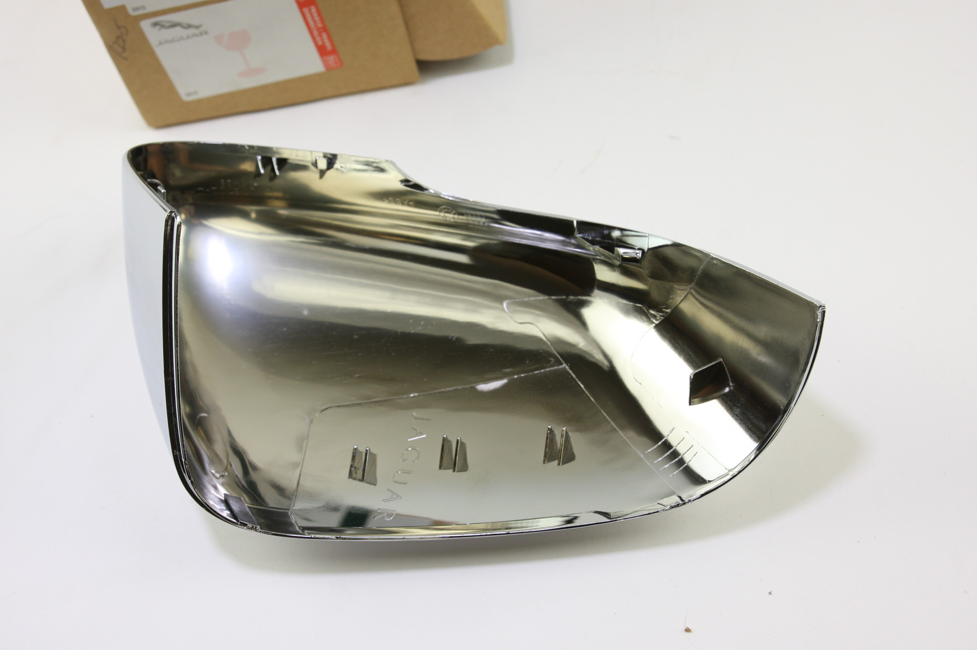 * New OEM C2D5489 Genuine Jaguar Driver Left Side Door Mirror Back Cover Chrome - image 4