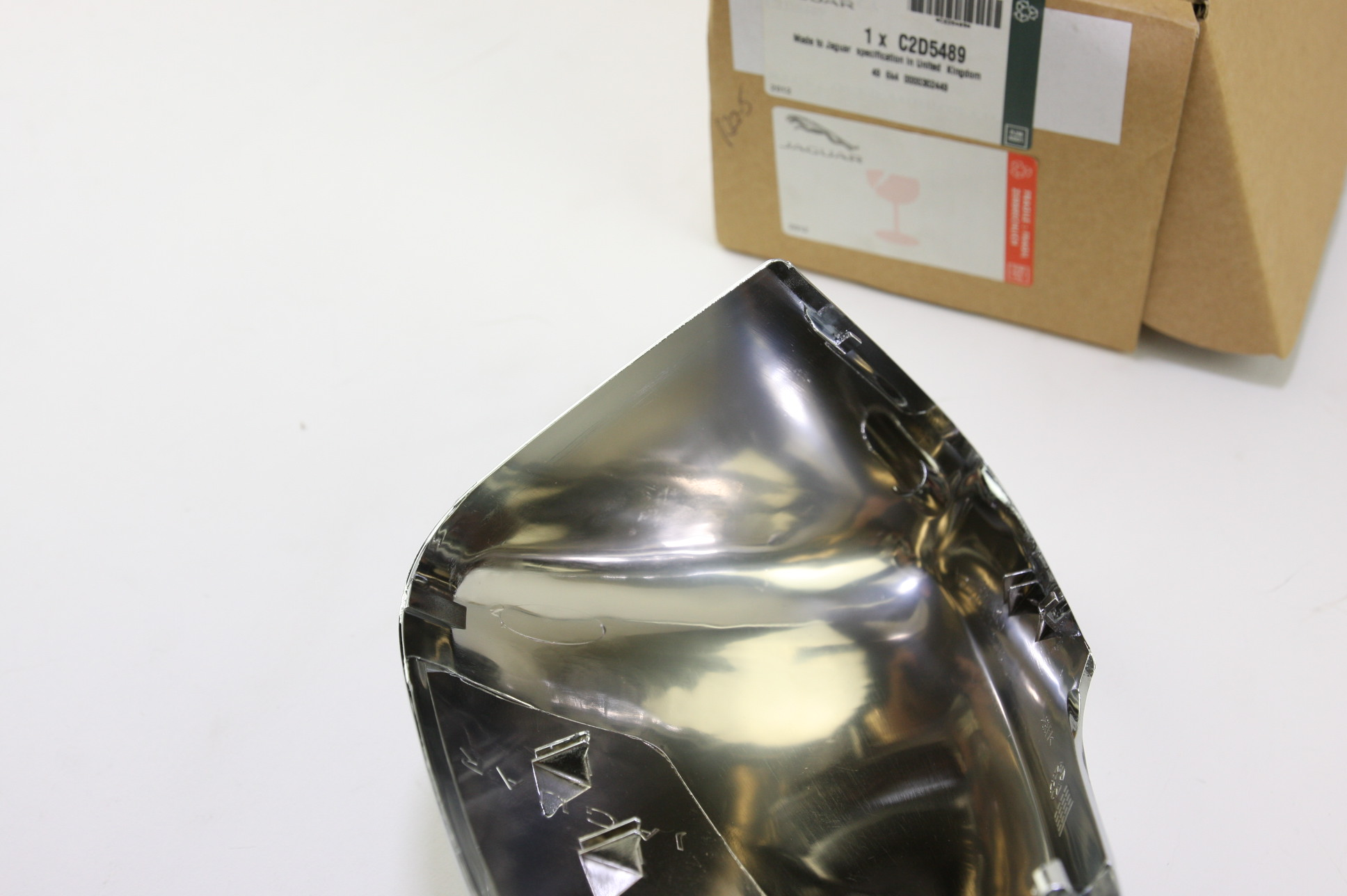 * New OEM C2D5489 Genuine Jaguar Driver Left Side Door Mirror Back Cover Chrome - image 6