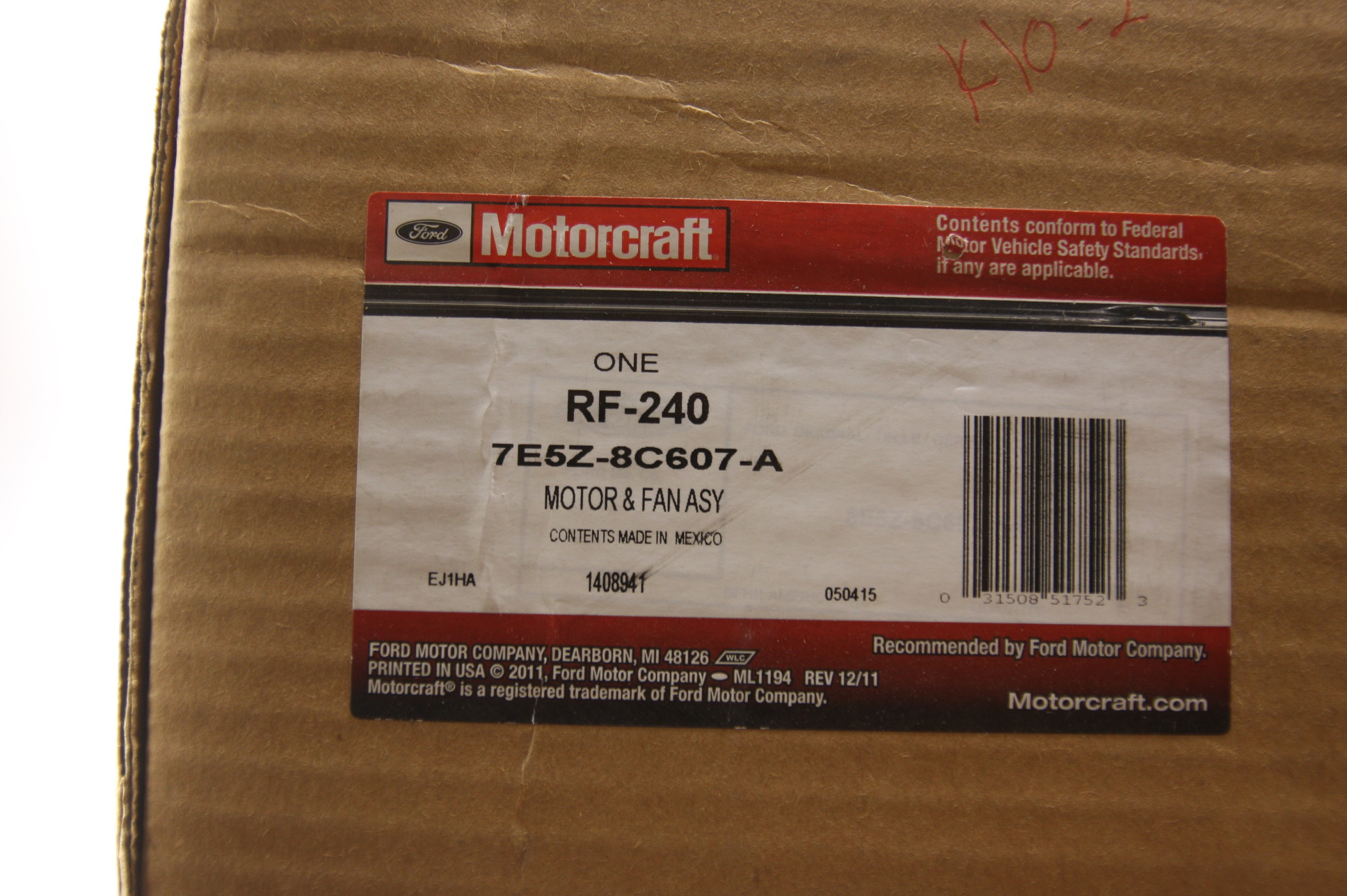 New OEM Motorcraft RF240 7E5Z8C607A Ford Fusion 06-09 Radiator Support & A/C Fan - image 2