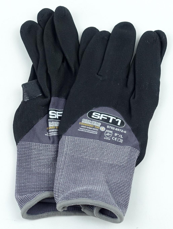 "Oeko-Tex S752-8572-0-9L SFT1 Standard 100 9"" Large Glove Gray/Black 1 Pair - image 1"