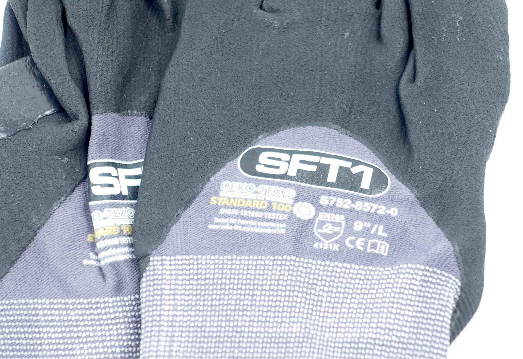 "Oeko-Tex S752-8572-0-9L SFT1 Standard 100 9"" Large Glove Gray/Black 1 Pair - image 2"