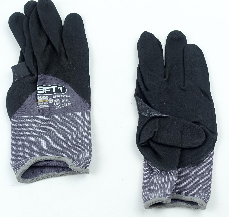 "Oeko-Tex S752-8572-0-9L SFT1 Standard 100 9"" Large Glove Gray/Black 1 Pair - image 5"