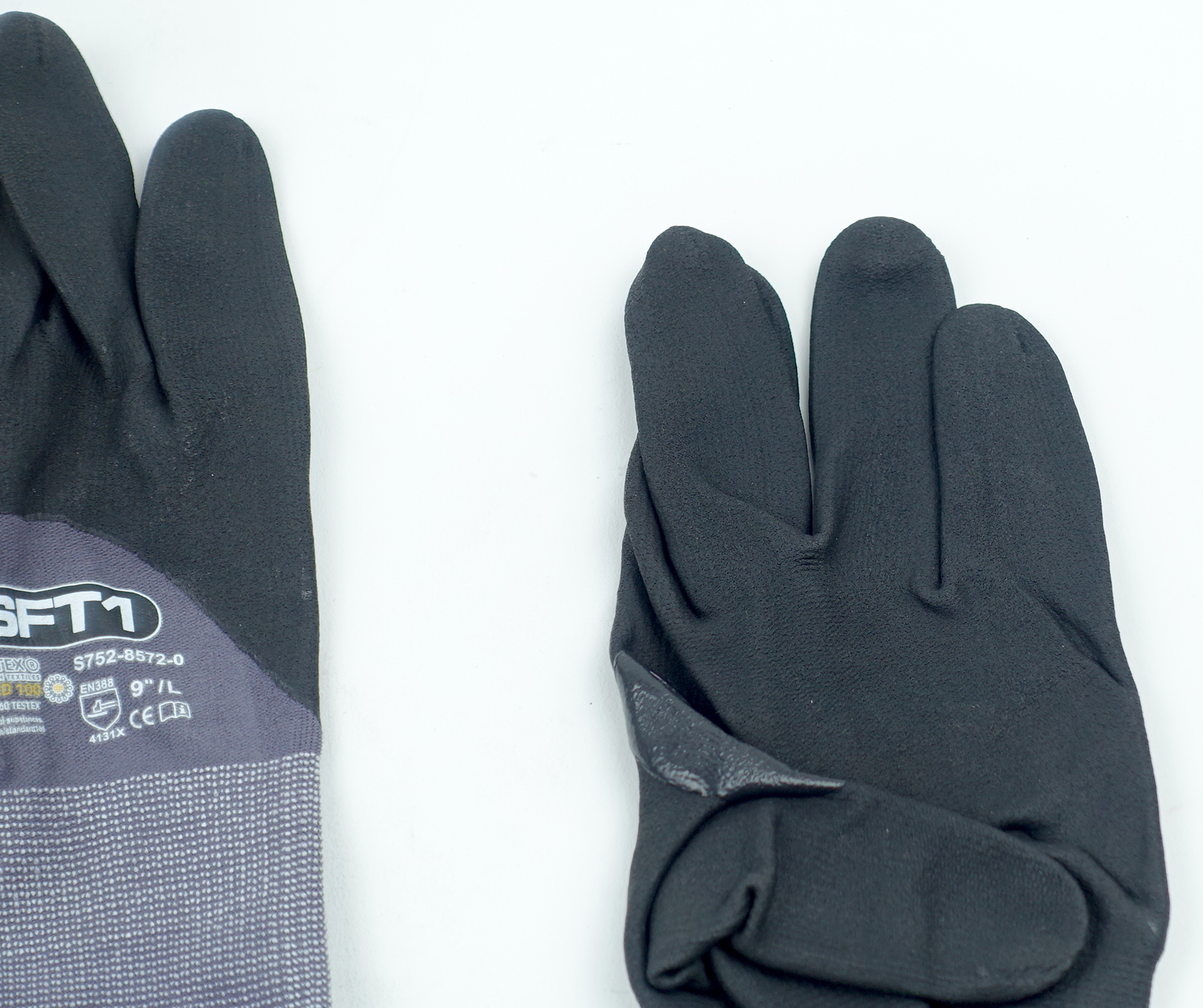 "Oeko-Tex S752-8572-0-9L SFT1 Standard 100 9"" Large Glove Gray/Black 1 Pair - image 6"